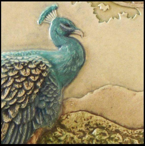Art tile, Peacock sculpture, wall art, ceramic tile, ceramic ...