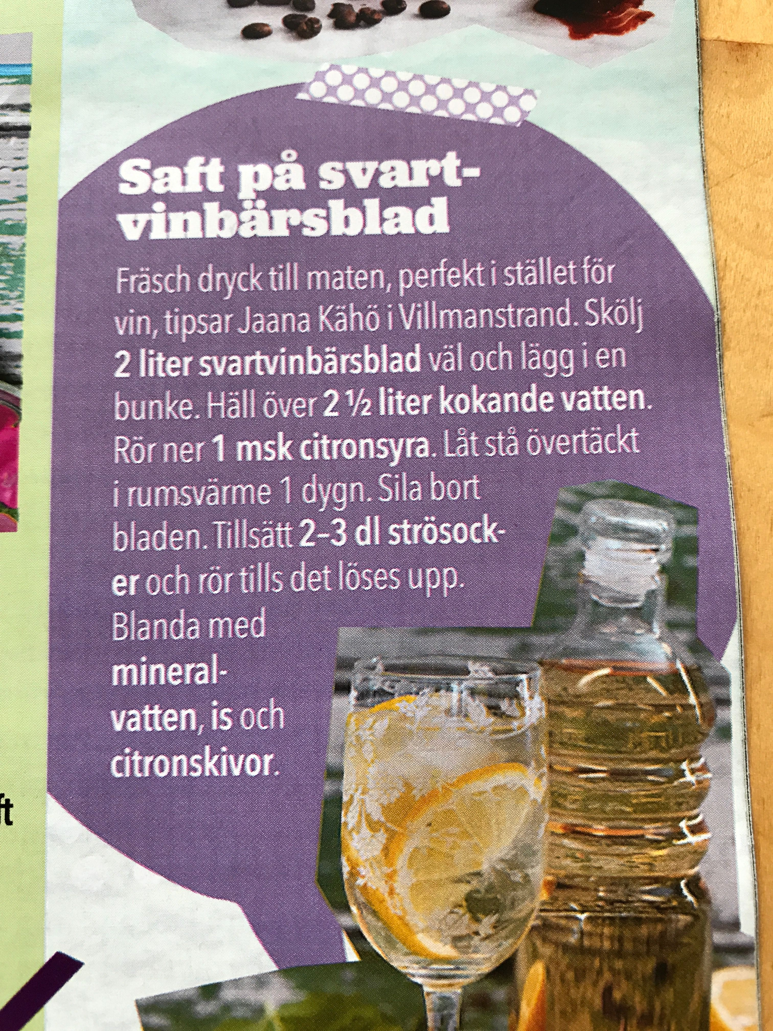 Diy Svartvinbarsblads Dryck Drinks