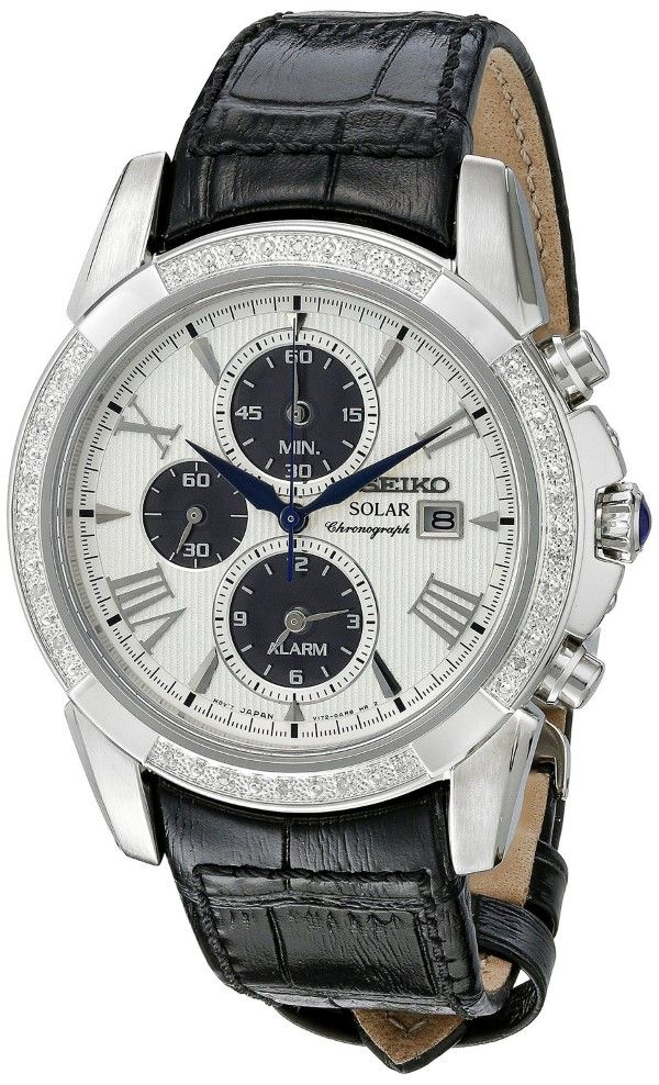 Men watches: Watches online Seiko Men's SSC311 Diamond-Accented Stainless Steel Watch with Black Leather Band