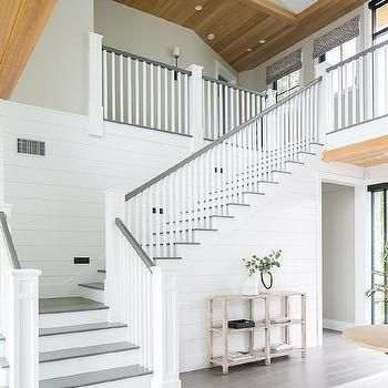 White Shiplap Walls Staircase With Gray Accents Brooke Wagner Design Farmhouse Style House White Staircase Farmhouse Stairs