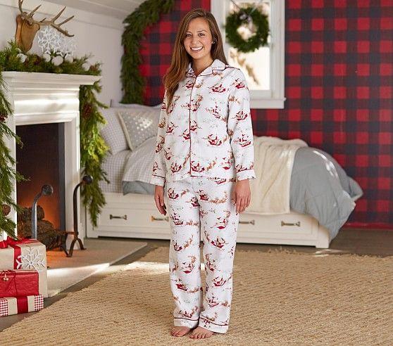 Adult Santa's Sleigh Flannel Pajama | Pottery Barn Kids