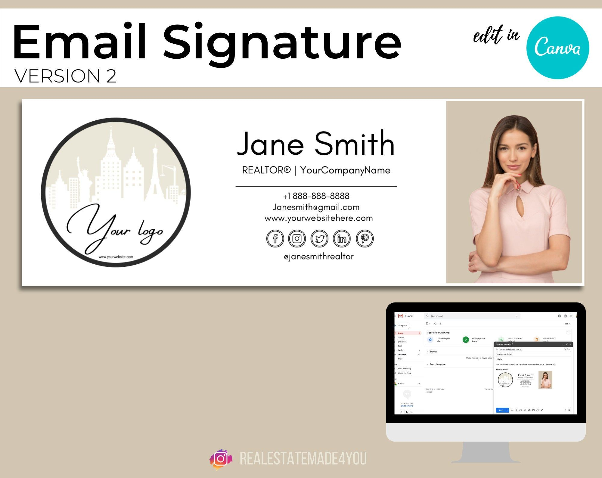 Email Signature V2 Editable In Canva Custom Gmail Signature Etsy In 2021 Real Estate Marketing Html Email Signature Marketing Template