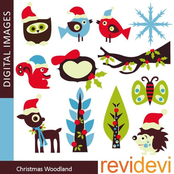 Clipart Christmas Woodland 08106.. commercial use digital clip art, via Etsy.