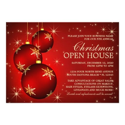 Businesses Open On Christmas Day 2020 Business Christmas Open House Invitations | Zazzle.| Christmas