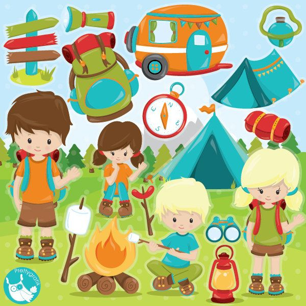 Camping Clipart Commercial Use Vector Graphics Digital Clip Art Scout Images