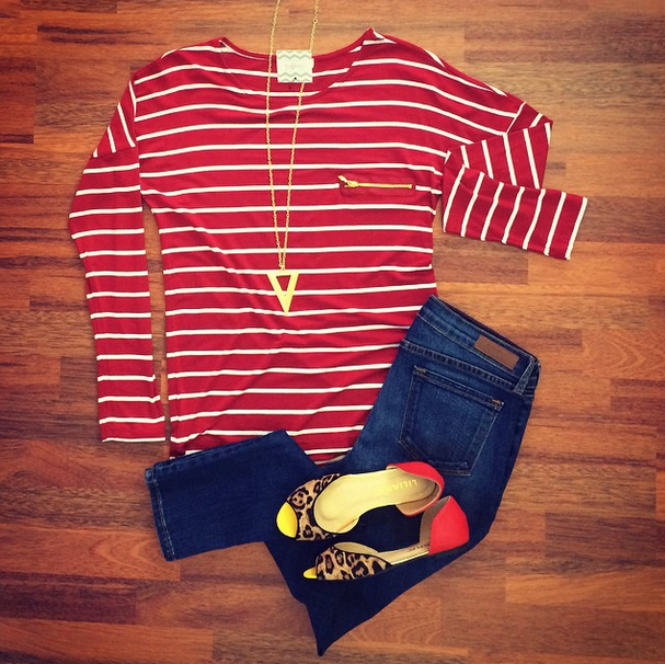 Zip It Up Top in Burgundy - Medium Wash Skinnies - To The Point Necklace - Color Block Spot Flats - All at southernswankboutique.com #instafashion #instastyle #fall2014 #fallfashion #ootd #wiw #stripes #trending