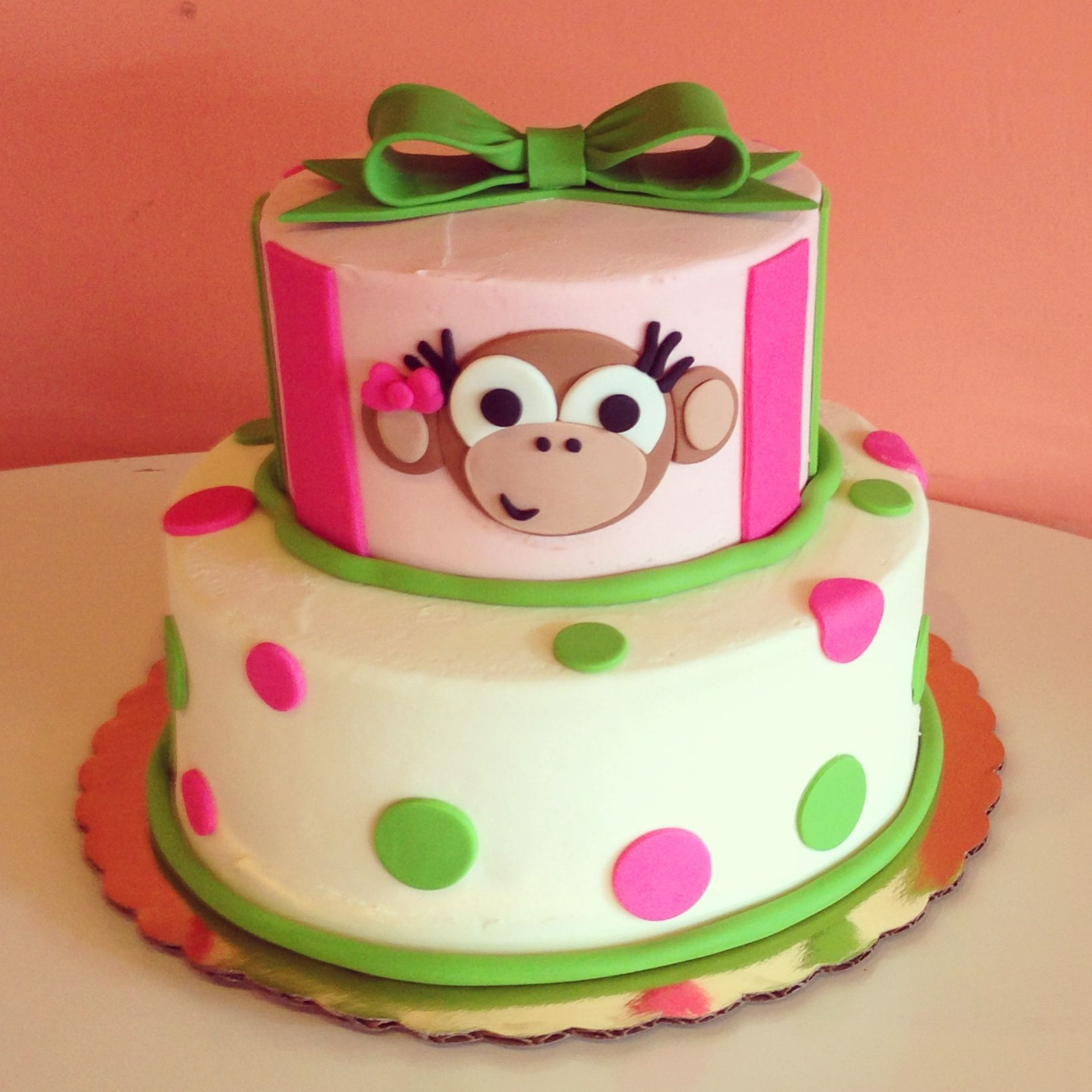 Green and Pink Monkey cake by 2tarts Bakery / New Braunfels, TX / www.2tarts.com