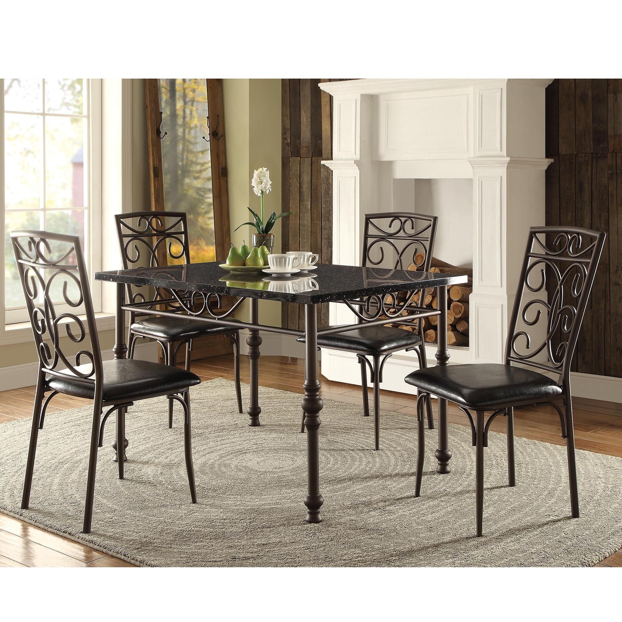 Zella Bistro Faux Marble Top Metal Scroll 5-piece Dining Set by iNSPIRE Q  Classic by iNSPIRE Q