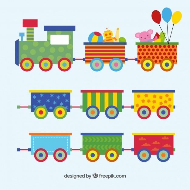Download Toy Train Set In Flat Design For Free Preschool Crafts Toy Train Toy Trains Set