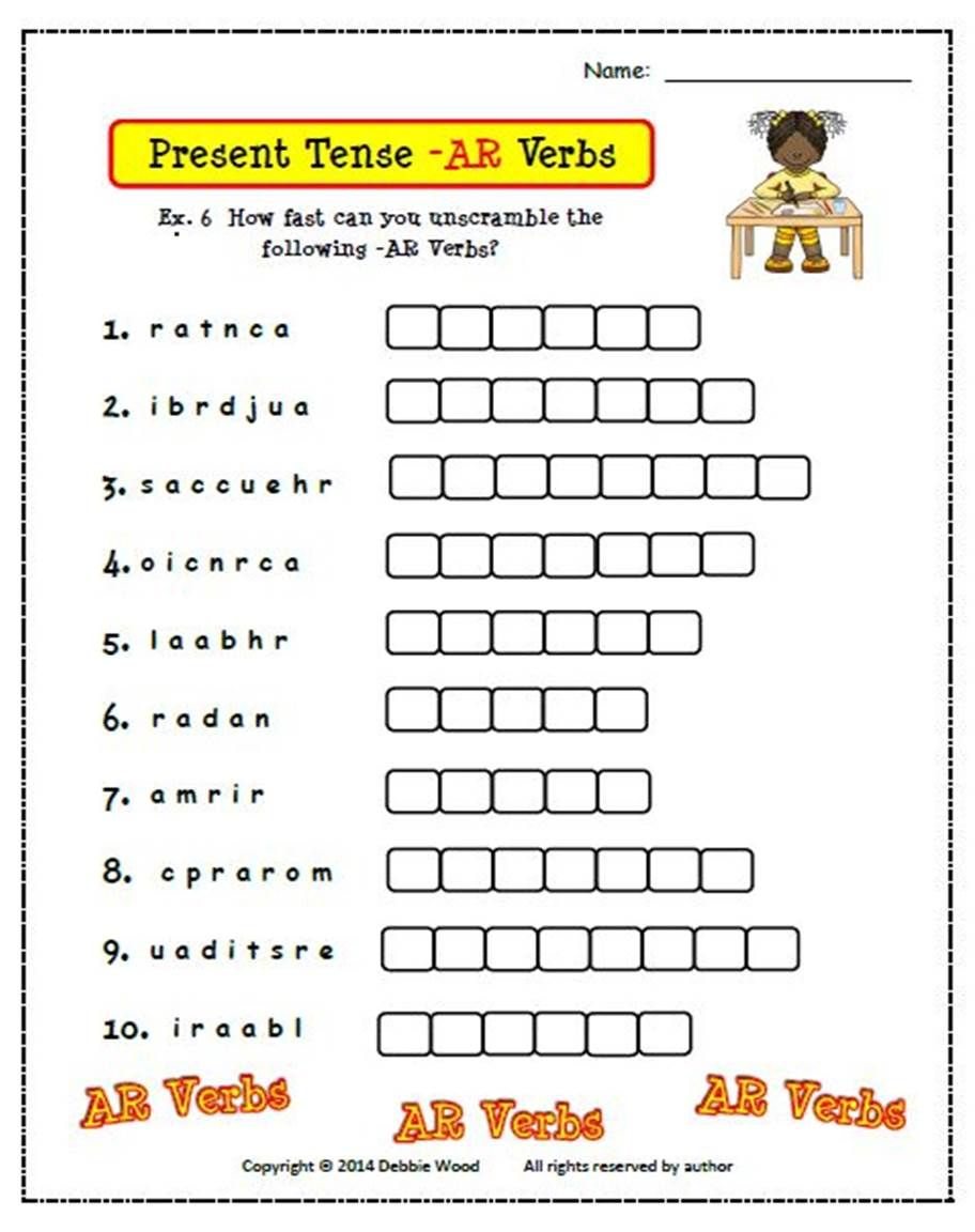 Spanish Present Tense Verbs Spanish Worksheets And