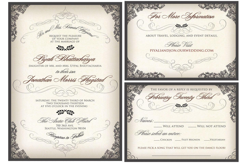 Elegant Script Wedding Invitation. Victorian Filigree