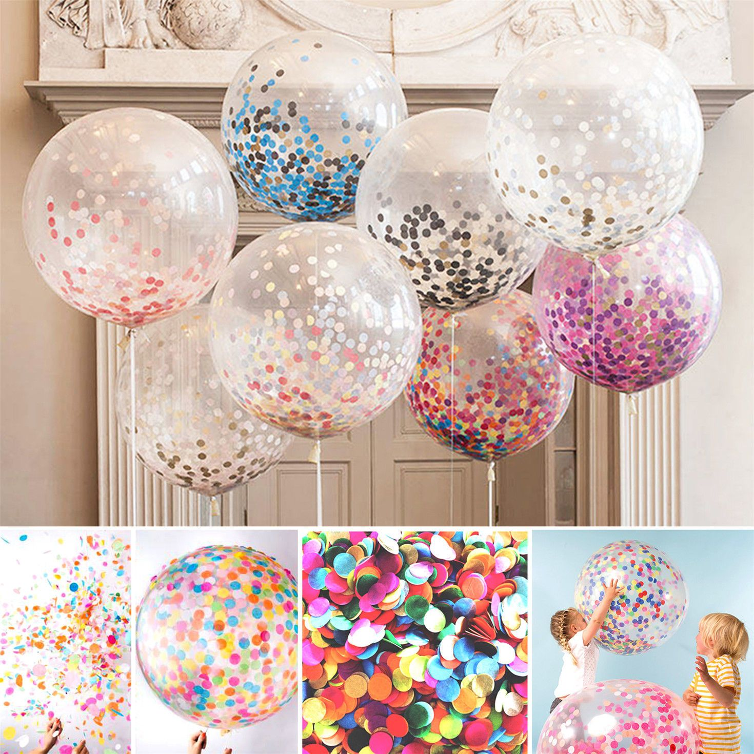 "12/"" Colorful Confetti Balloon Christmas Birthday Wedding Party Latex Helium"