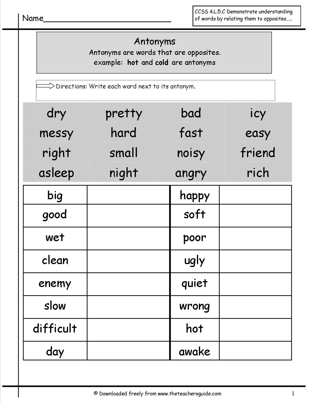 Free 3rd Grade Grammar Worksheets Pictures