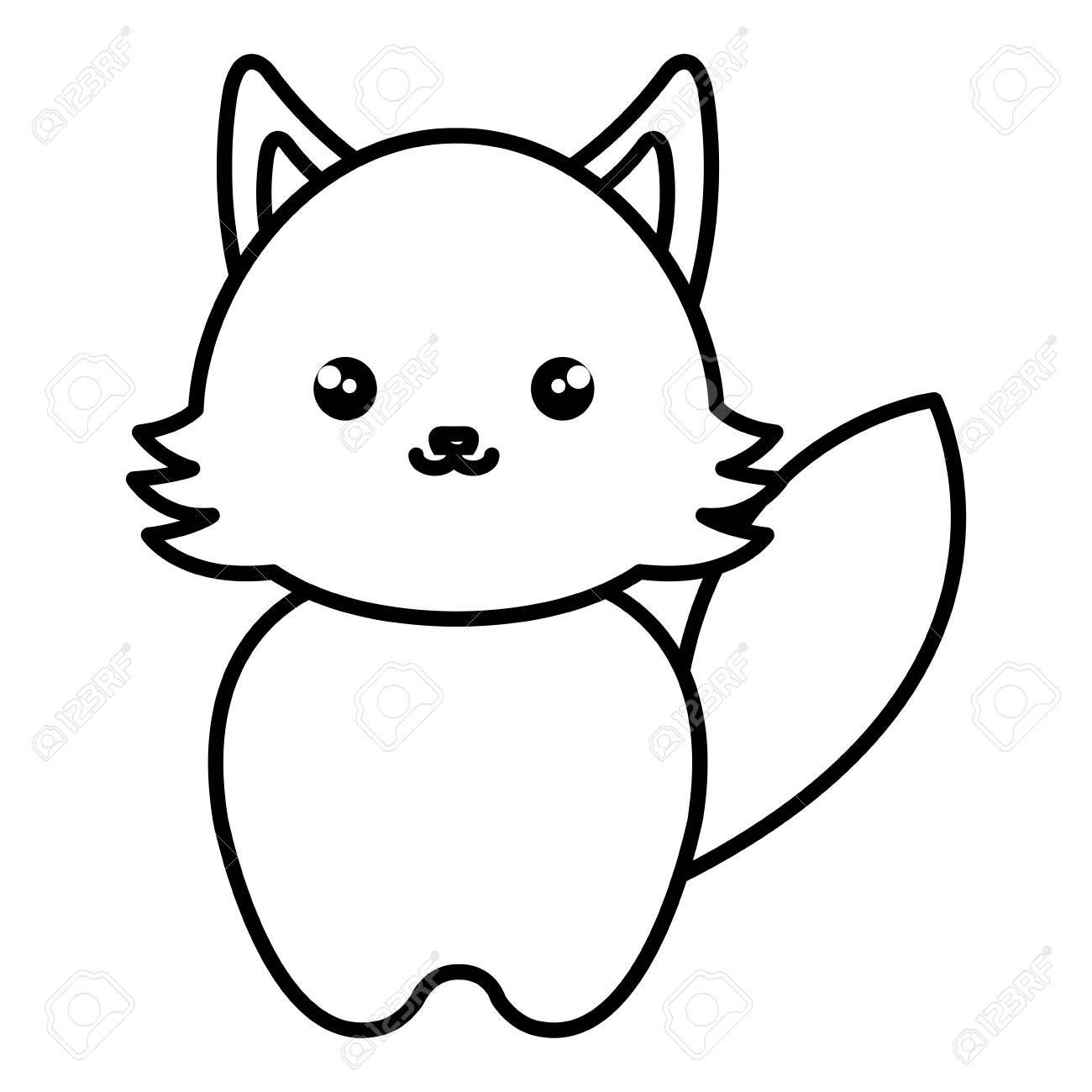 cute and tender fox kawaii style vector illustration design ,