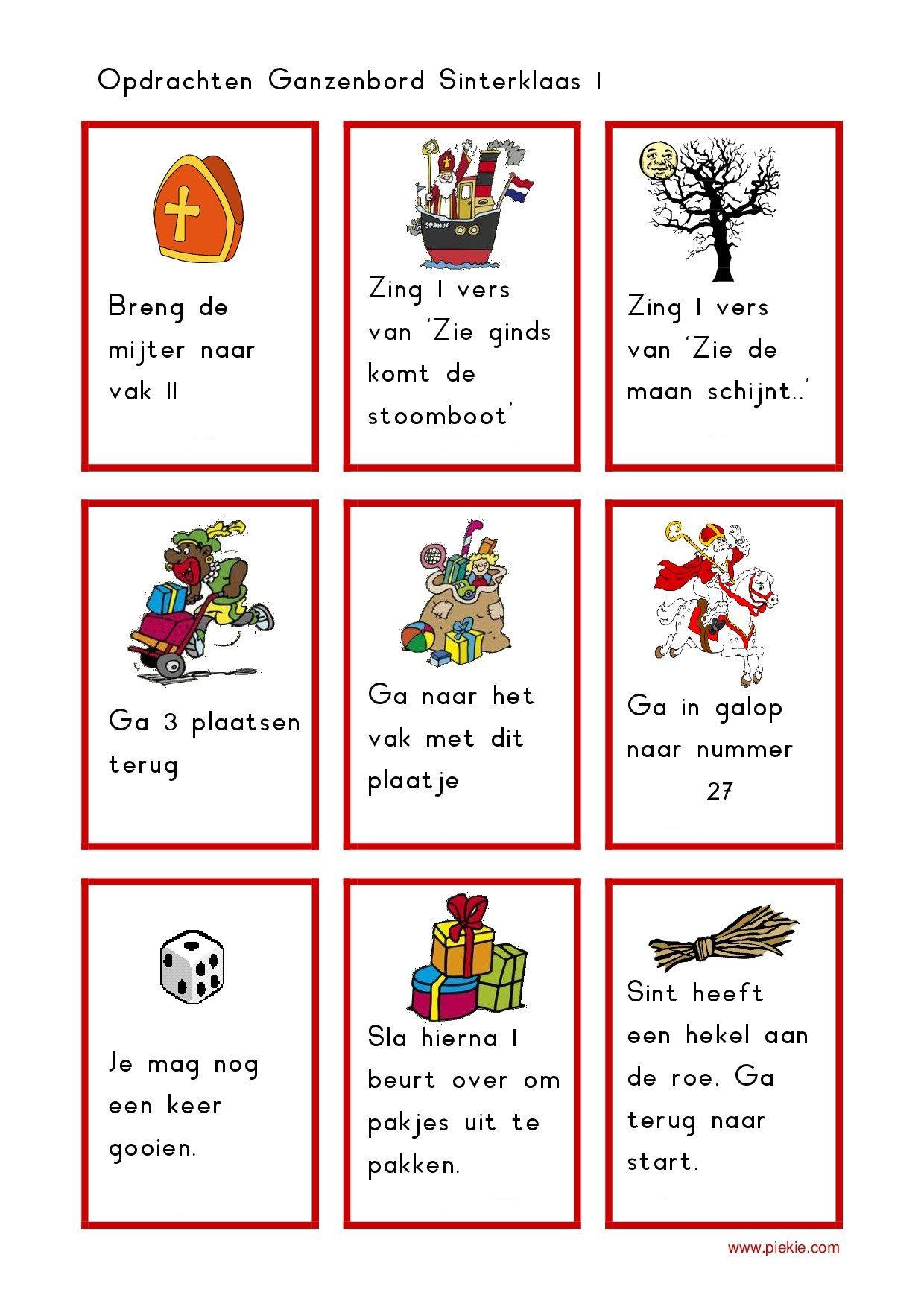 Sinterklaas Ganzenbord Spelkaartjes 3 4 Spelletjes Maken Pinterest