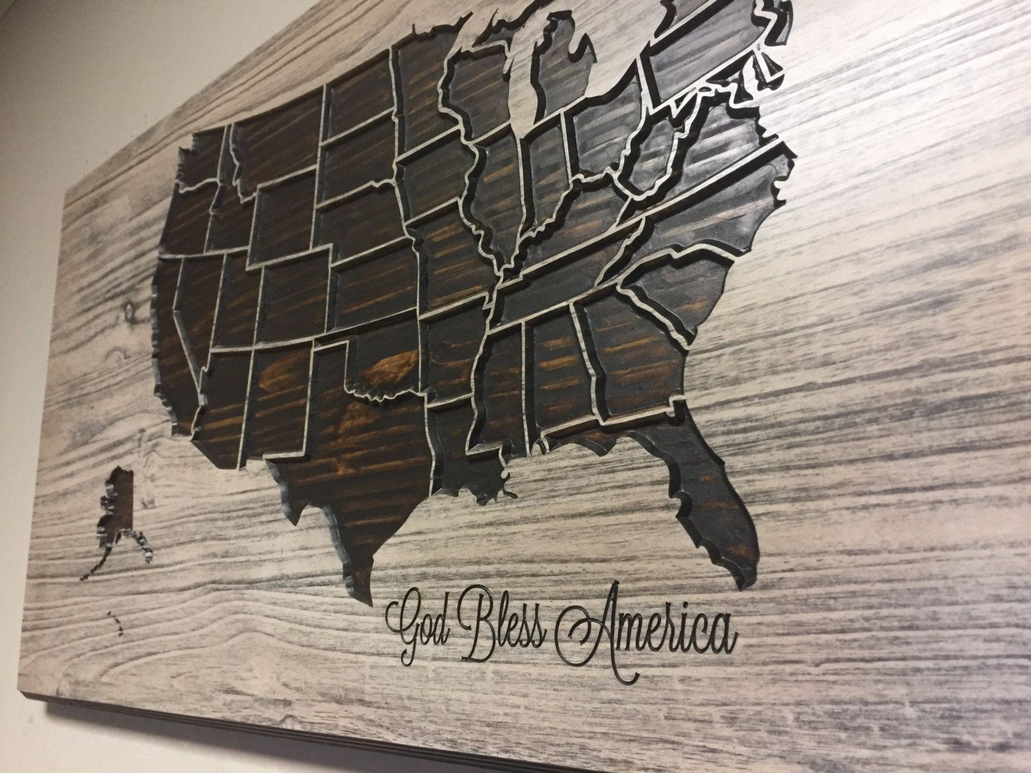 God Bless America Decor Wooden US Map