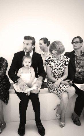 David Beckham and Harper Beckham with Anna Wintour at Victoria Beckham's show at New York Fashion Week