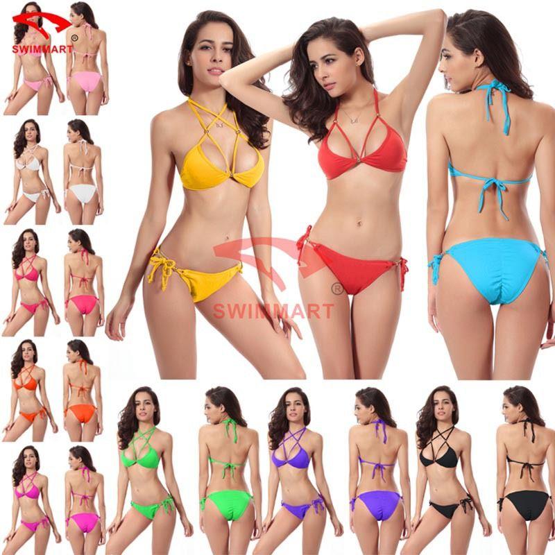 Encontre mais Biquinis ajustados Informações sobre 2015 estilo verão moda mulheres Sexy triângulo Bikini Swimwear Set colorido maiô maiô empurrar para cima Biquinis Hot venda, de alta qualidade swimsuit sexy, suits made in china China Fornecedores, Barato swimsuit fabric de Guangzhou Weichuang Trading Co.,Ltd. em Aliexpress.com