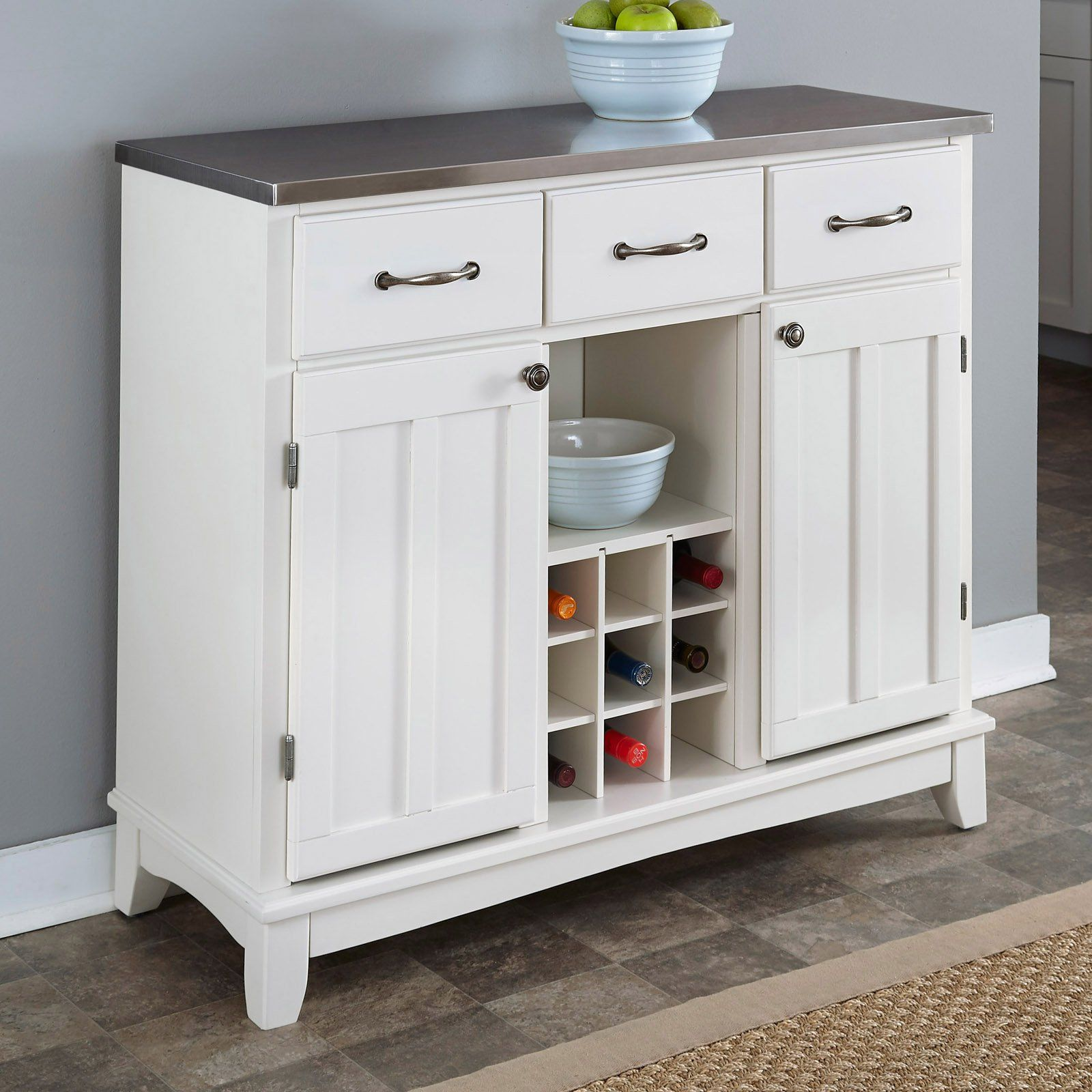 White Wood Buffet Cabinet By Home Styles