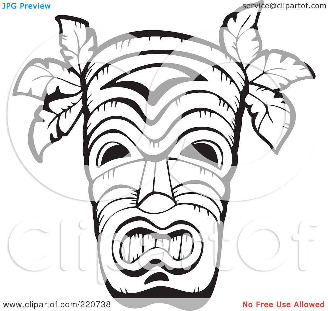 hawaiian clip art black and white tiki clipart panda free