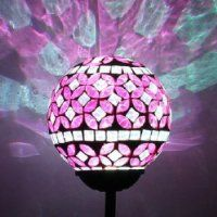 color changing solar garden lights. Solar Power Pink Mosaic Glass Ball Garden Light, Color Changing Multi-color Yard Light Lights