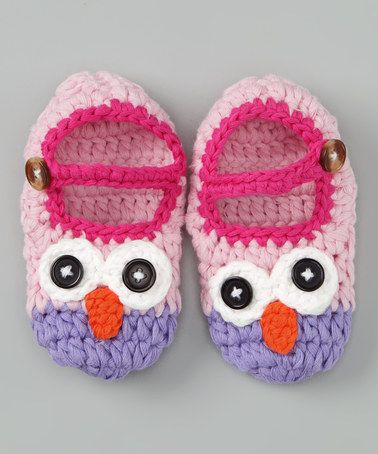 Take a look at this Light Pink Owl Crochet Booties by Welcome Baby: Apparel & Accessories on #zulily today!