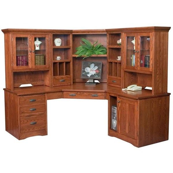 dark hutch box oak wood desk with black of image corner computer modern