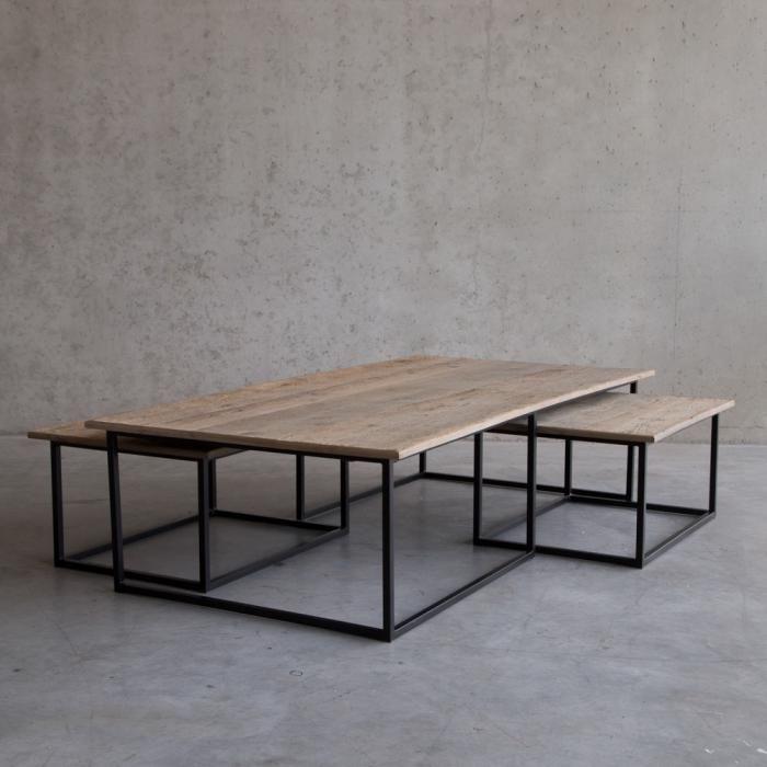 Driedelige salontafels van oud eikenhout schuin for Design couchtisch 2er set big fusion vintage look schwarz