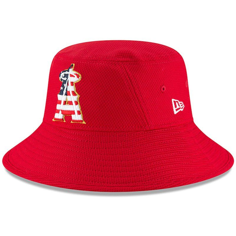 670705cd30c1ad Los Angeles Angels New Era 2018 Stars & Stripes 4th of July Bucket Hat – Red