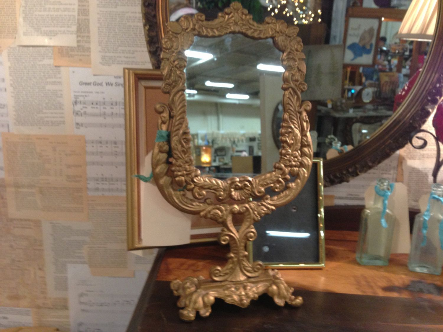 Heavy Gold Ornate Mirror On Stand Vanity Mirror by