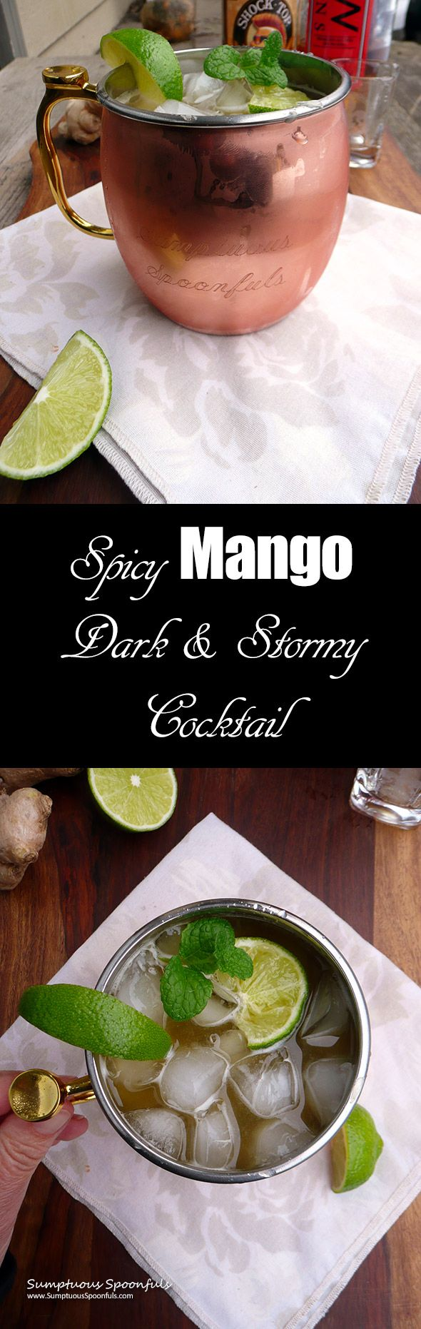 Spicy Mango Dark & Stormy Cocktail ~ Sumptuous Spoonfuls #cocktail #recipe