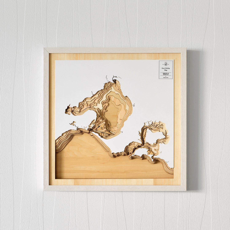 Wooden 3D contour map of Port Phillip Bay  Plywood Unique and