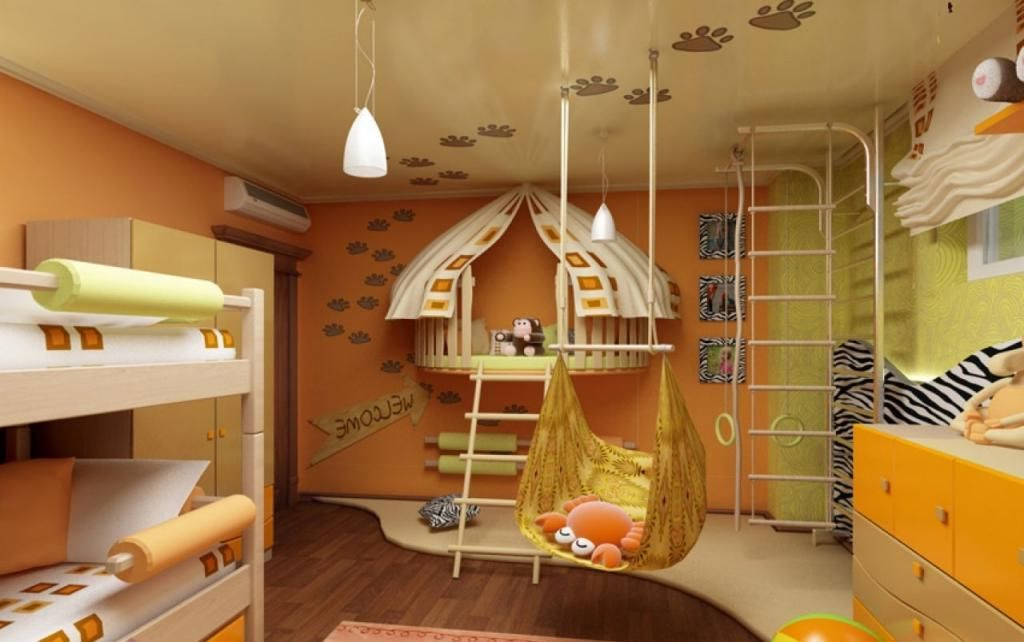 creative children u0027s room design with hammock idea the middle room and orange green painting wall and small pendant lamp also bunk bed decor on wood u2026 creative children u0027s room design with hammock idea the middle room      rh   no pinterest