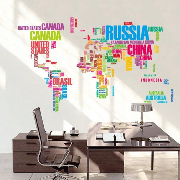 Large world map wall stickers original creative letters map wall art large world map wall stickers original creative letters map wall art bedroom home decorations wall decals gumiabroncs Image collections