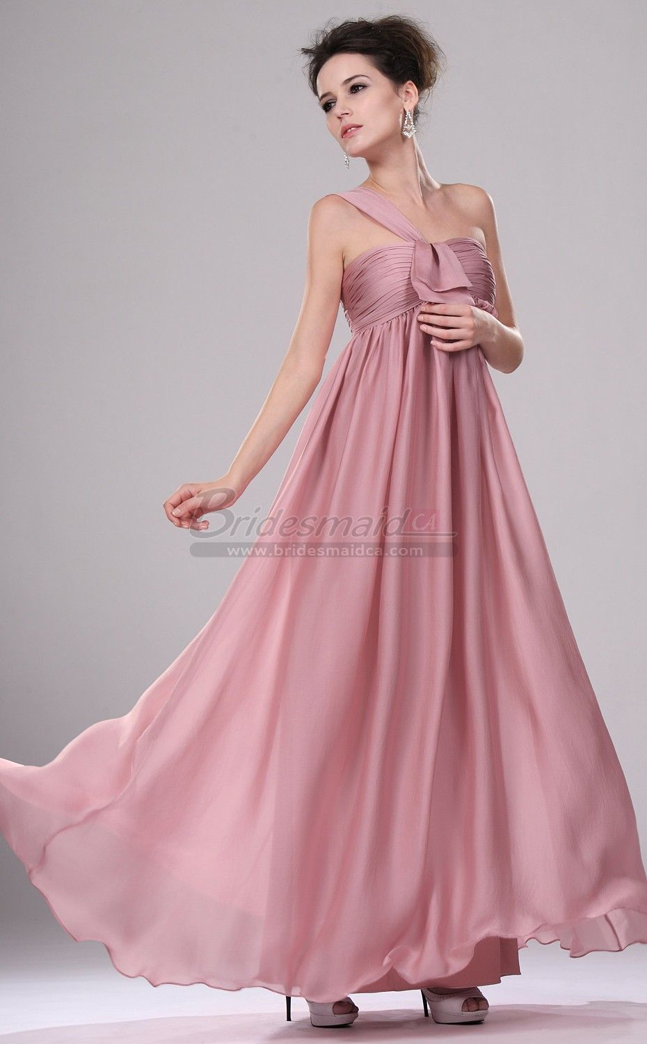Bridesmaiddresses long one shoulder satin chiffon nude pink bridesmaiddresses long one shoulder satin chiffon nude pink vintage bridesmaid dress bd ca437 ombrellifo Gallery