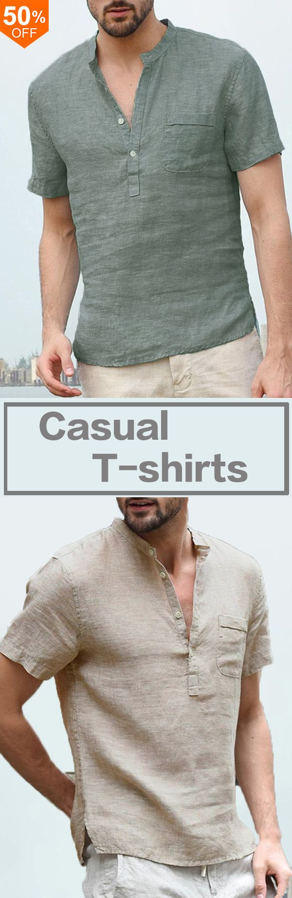 3a6a5d3ceaf5 Men s Button V-Neck Casual T-shirts Summer Short Sleeve Comfort Loose Solid  Color Tops Tees