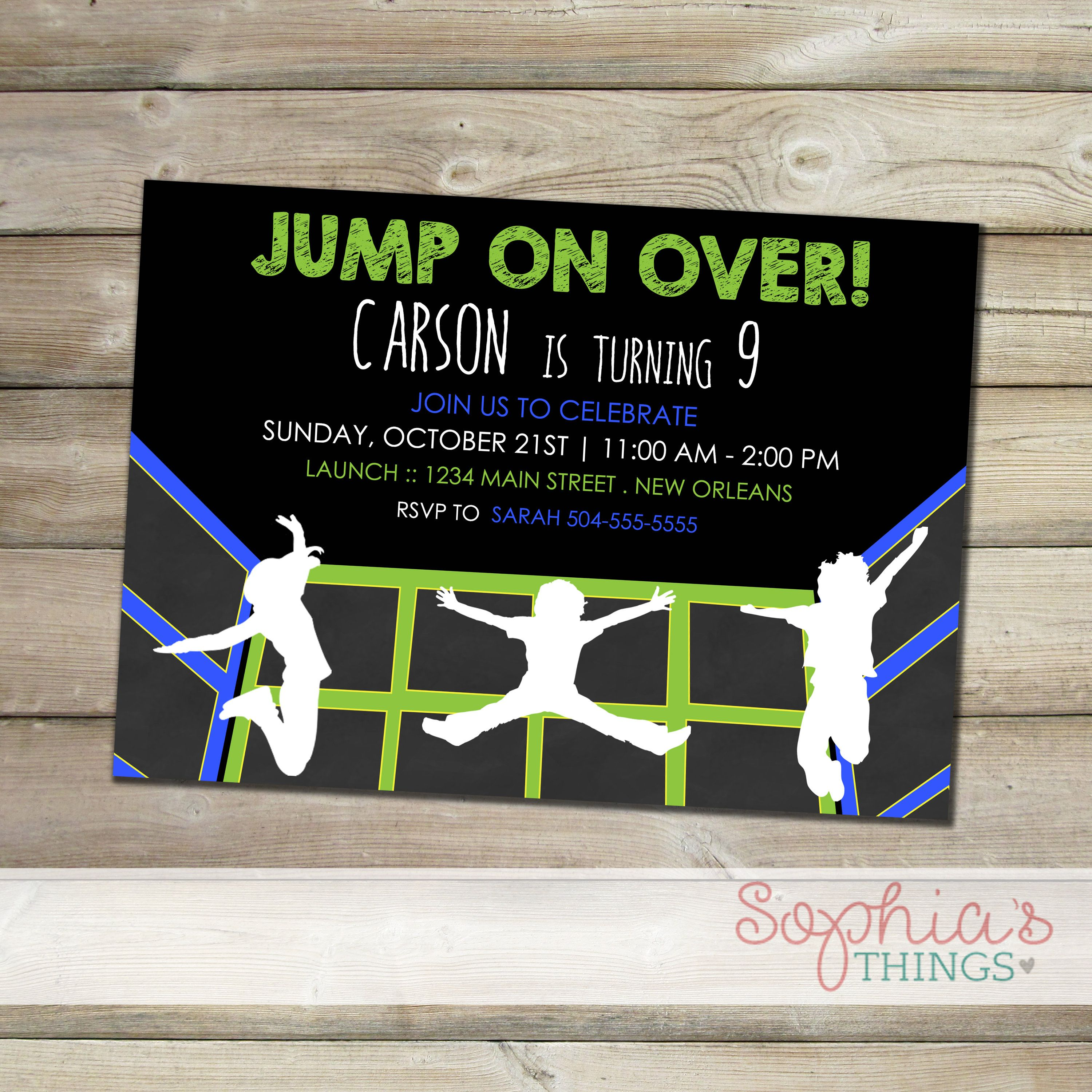 Trampoline Party Invitations Indoor Trampoline Park Party