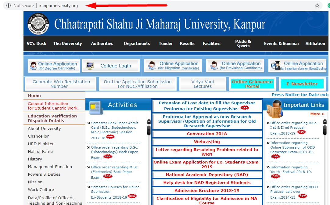 Csjmu Back Paper Result Certificates Online Result Online Application