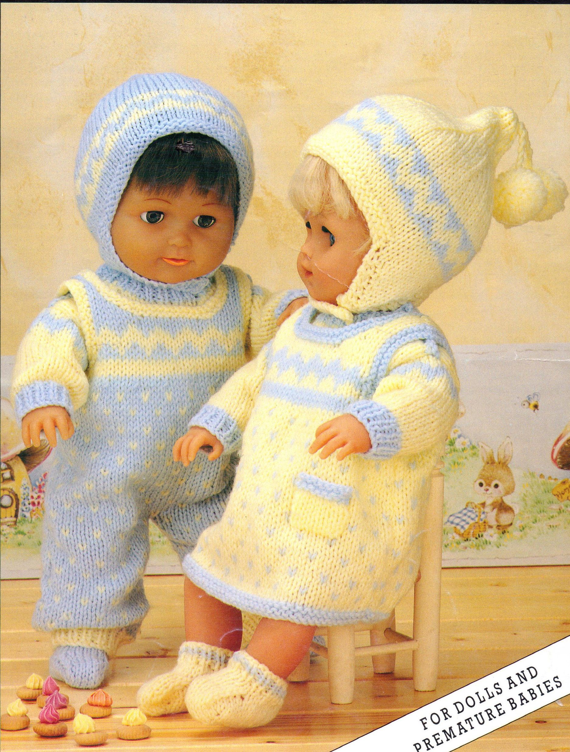 Baby Dolls Knitting Pattern Outfit Pinafore Sweater Dress Dungarees ...