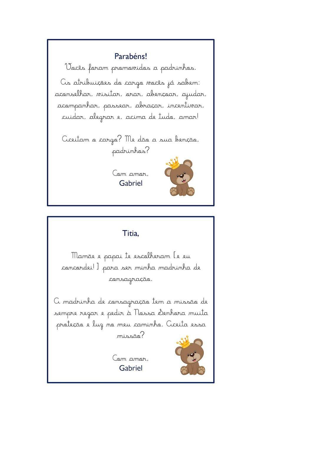 Convite Para Padrinhos De Batismo Em 2020 Com Imagens Convite