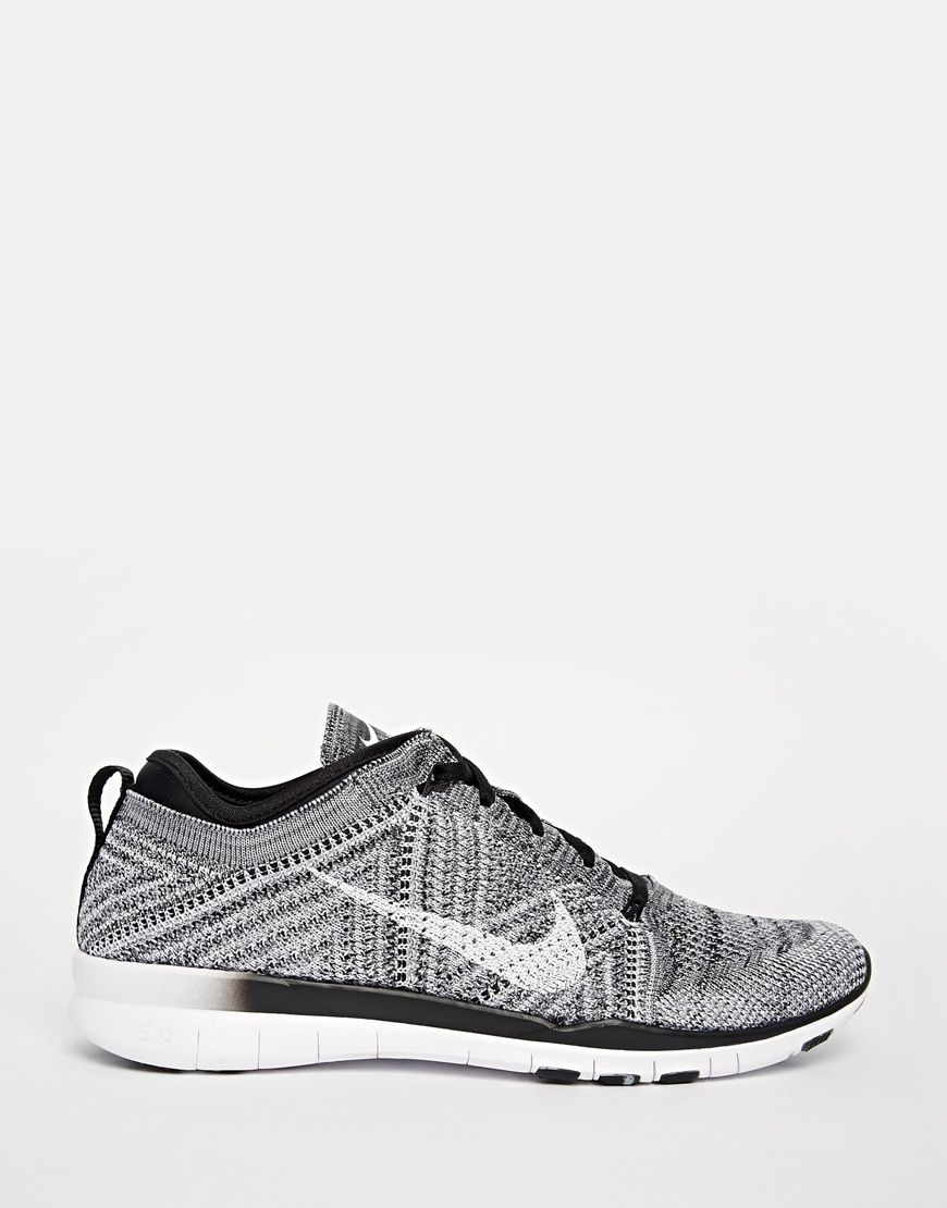... image 2 of nike free tr flyknit black white & grey trainers ...