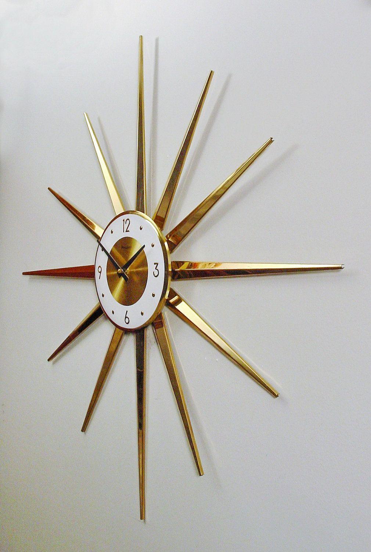 midcentury modern clock starburst clock atomic wall clock brasstone design modern wall clock battery operated