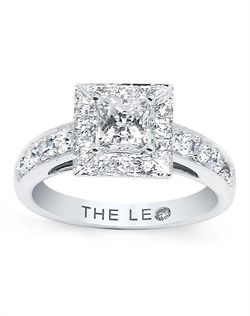 A Princess Cut Leo Diamond Is The Scintillating Center Of This