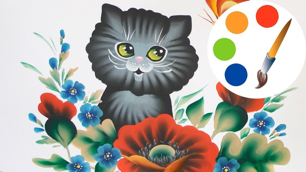 Easy Way To Paint A Kitten How To Paint A Cat Painting One Stroke Painting Canvas Painting