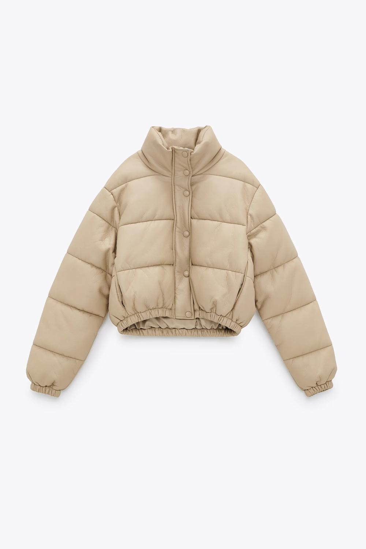 Steganaya Kurtka Iz Iskusstvennoj Kozhi Zara Russia Rossiya 4299 R Leather Puffer Jacket Padded Jacket Beige Puffer [ 1500 x 1000 Pixel ]