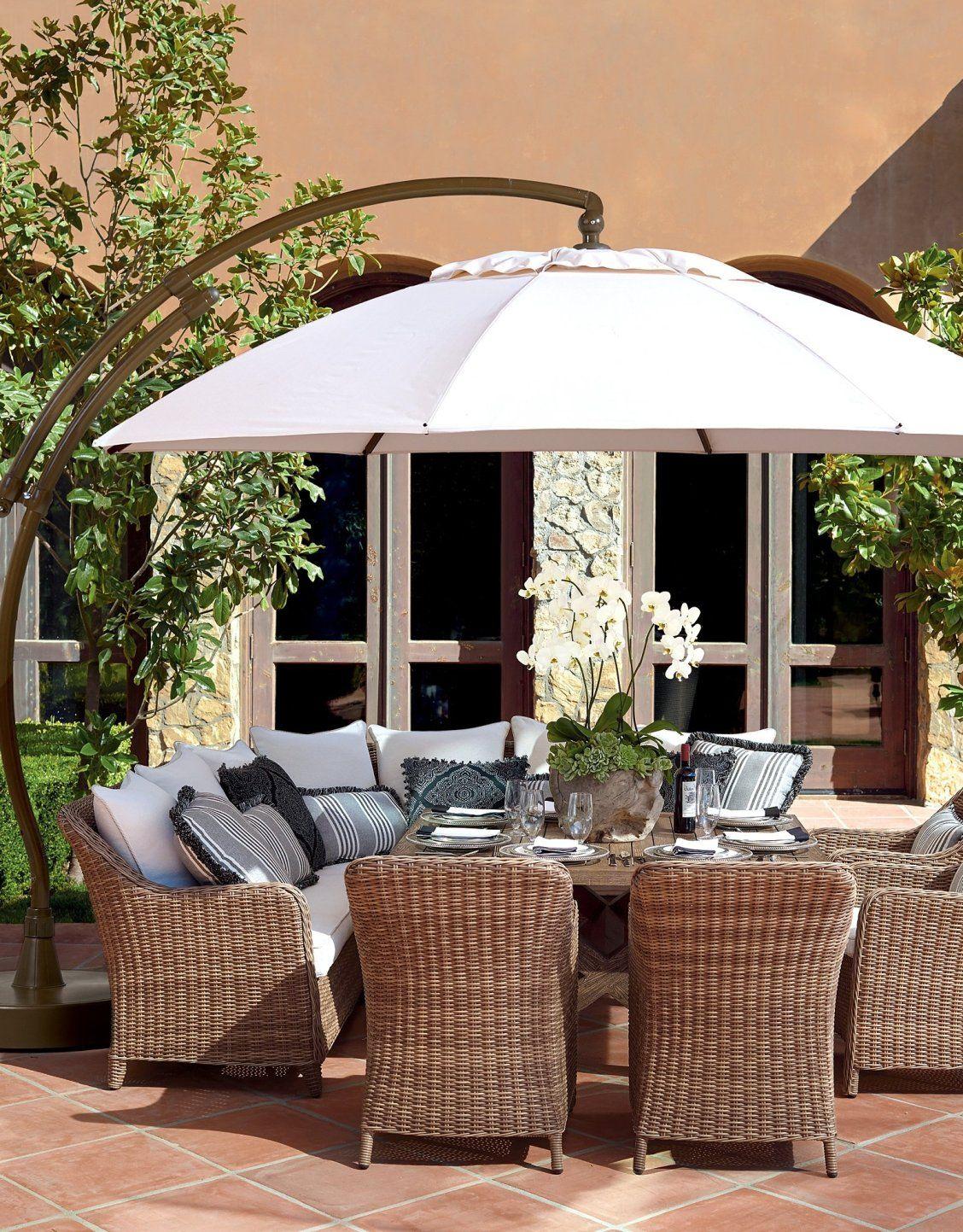 European Round Side Mount Umbrella Frontgate Patio Decor Backyard Furniture Patio Design