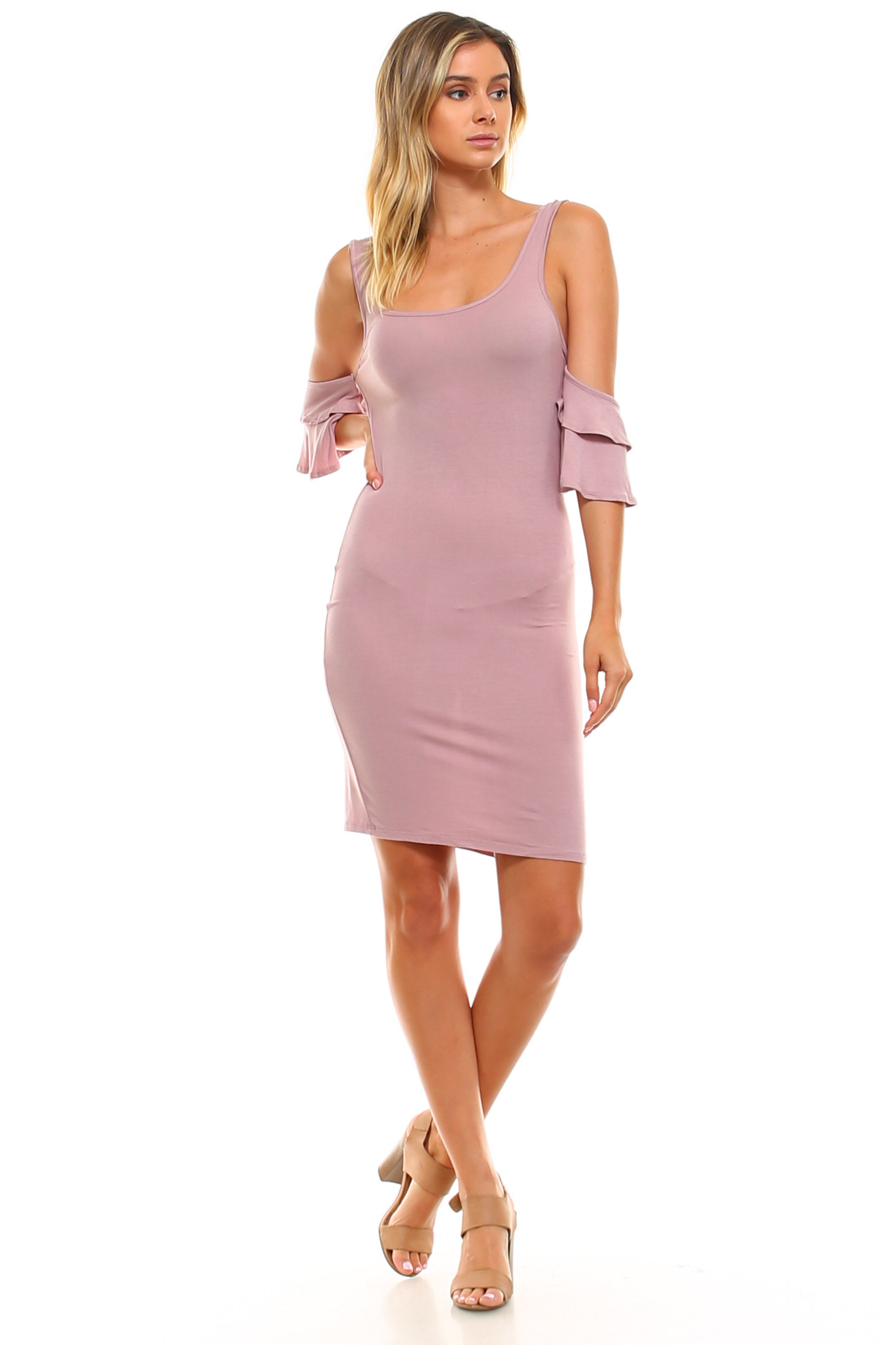This Tank Dress Features A Cold Shoulder Style With Ruffle