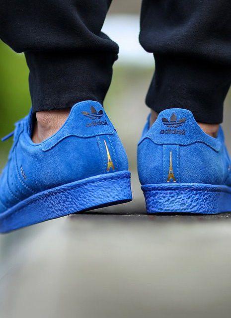 Adidas Blue Suede Superstar 80s City Series Paris Eiffel Tower Fashion  sneakerhead 74eb15e60f4