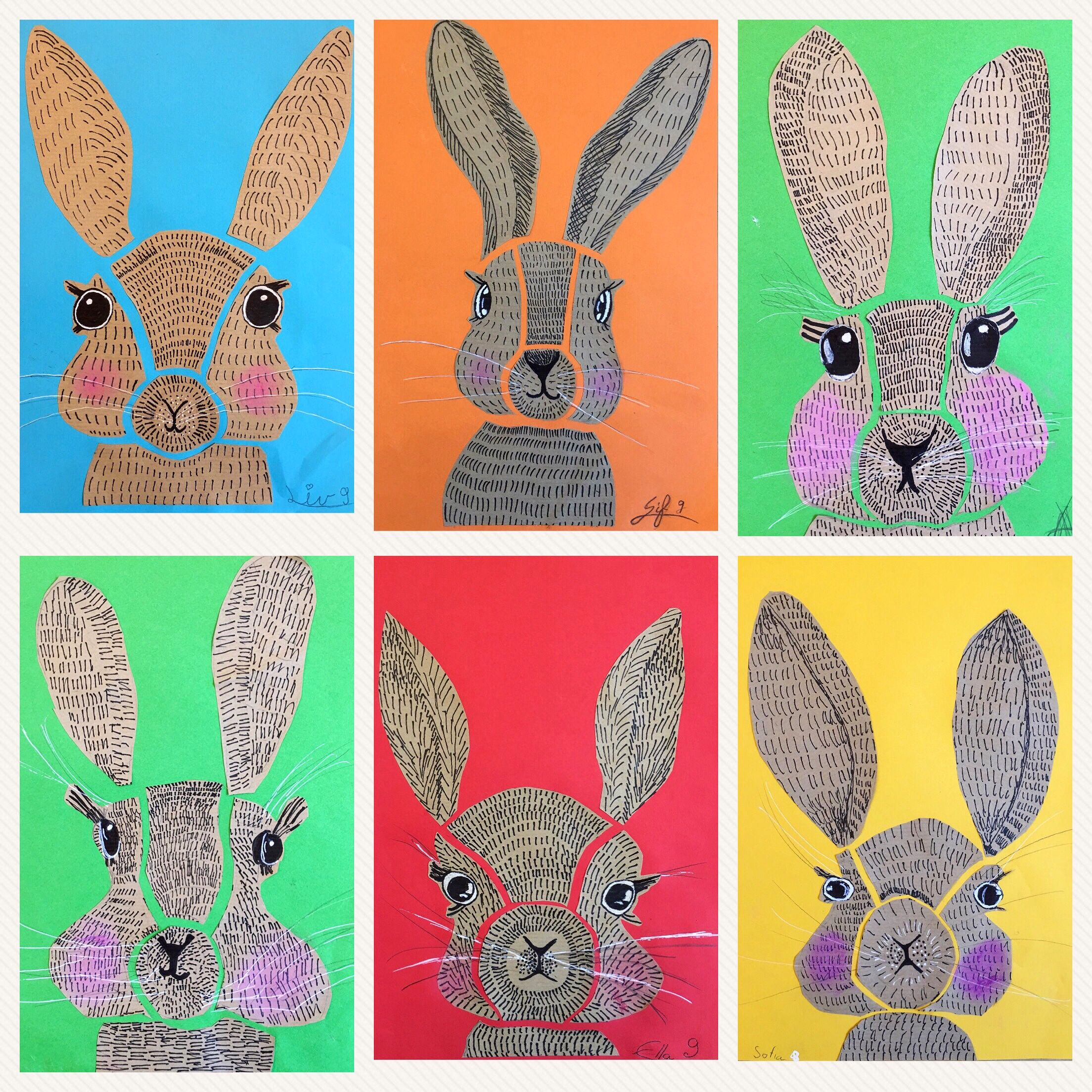 Rabbit Illustration Using Line Bunny Art Projects Elementary