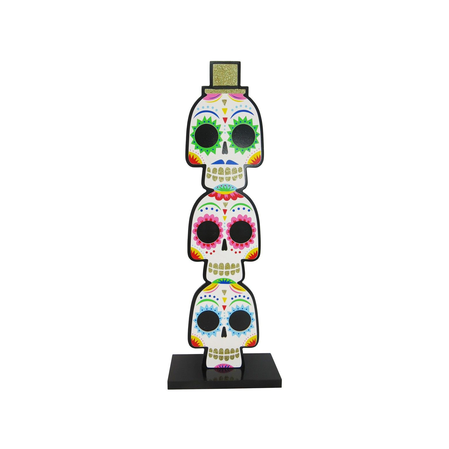 Day Of The Dead Wooden Skull Table Decor Hyde And Eek Boutique